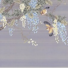 BLOSSOM WISTERIA TREE AND BIRDS