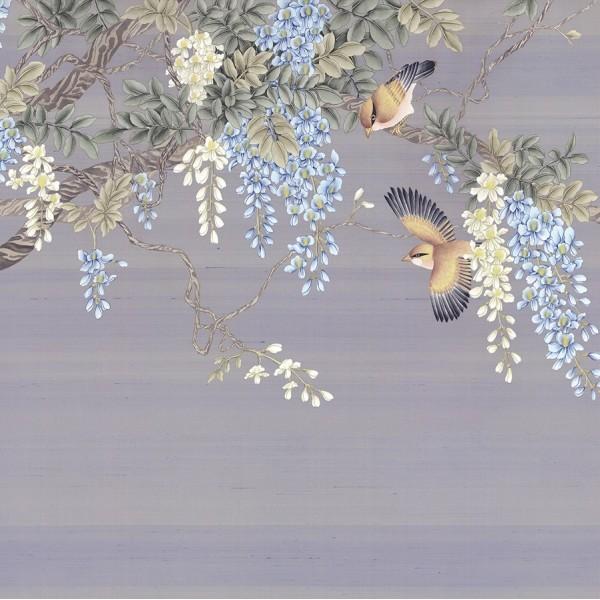 BLOSSOM WISTERIA TREE AND BIRDS